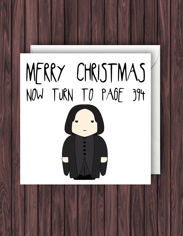 Snape Christmas. Harry Potter Christmas Card. Geek Blank Card.