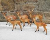 Vintage Plastic Deer Fawn Figurine: One Deer Miniature Brown Painted Figurine Reindeer Terrarium Fairy Garden Animal Hong Kong
