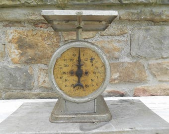 Antique American Family Scale Metal Collectible Photo Prop 24 Pound Scale Rustic Farmhouse Country Kitchen Decor Pat. Oct 25, 1898 Warranted