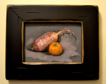 orange and turnip still life original oil on panel 5 by 7 inches