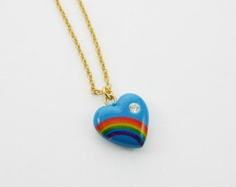 Blue Rainbow Heart Necklace