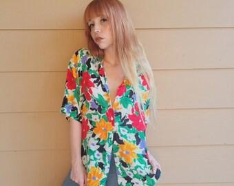 Oversized Floral Watercolor Button Up Shirt // Women's size Medium M