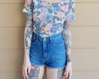90's Paris Blues Floral Rose Print Shirt // Women's size Small S