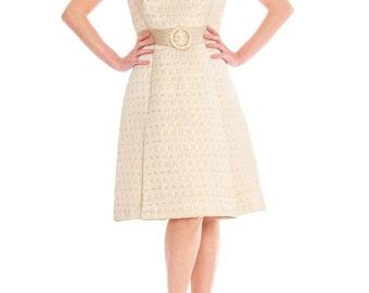 1960s Reflet De Paris Champagne Woven Silk Belted Shift Dress Size: S