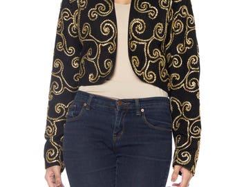 Black Suede Bolero Jacket With Gold Ribbon Swirl Design Size: 10
