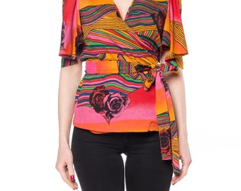 Orange, Red Psychedelic Floral Print Wrap Top Size: 4-6