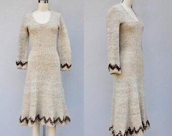 Vintage 70s ALPACA Wool Dress - Knit Dress - Oatmeal Wool Dress - Alpaca Dress - Boho Gypsy Hippie Festival Winter size XS - S