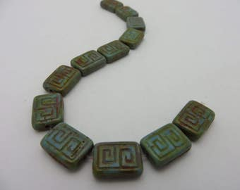 Sale Beads Serenity Blue with Rustic Picasso GREEK KEY 13X9mm Rectangle Premium Czech Glass  (  6 Beads)  Low  Shipping !