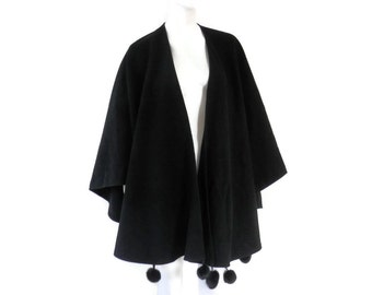 Space Age Black Wool and Cashmere Shawl or Cape with Mink Fur Pom Pom Trim by Lloyds Coating