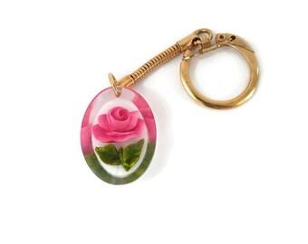 Lucite Pink Rose Keychain Reverse Carved Encased Plastic Rose Vintage Ladies Accessories