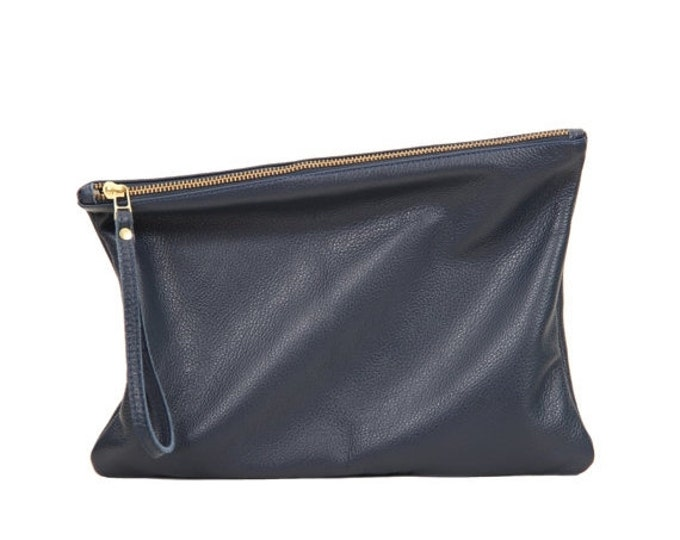 Navy leather clutch, foldover clutch bag, women leather zipper clutch