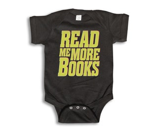 Baby One Piece - Read Me More Books Onesie - 100% cotton Short Sleeve & Long Sleeve - Newborn to 18 Months - Baby Boy - Baby Girl