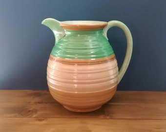 Vintage Shelley Harmony Banded Ware Pitcher c1930s