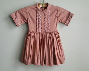 1950's Milk Chocolate Cotton Dress - Toddler Girl 3T Pleated 50s Dress - Vintage Kids Clothing - Shirtwaist