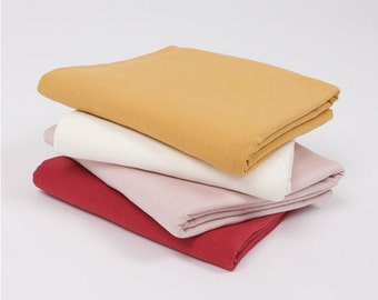 French Terry Knit Fabric, Stretchy Fabric - Mustard, Ivory, Pink or Red - Fabric By the Yard 93942