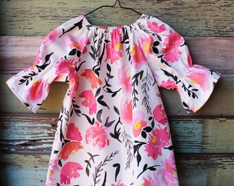 Valentines Dress, Girls babies, watercolor floral outfit, pink, coral, black, red, flower girl dress, coming home outfit, boho