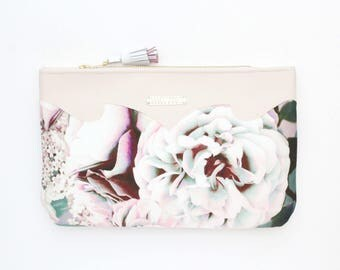 SUMMER 7/ Floral clutch bag-romantic bag-wedding purse-evening bag-small handbag-bridesmaid gifts-black beige pink-Ready to Ship