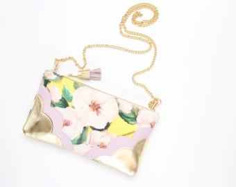 Flower shoulder purse-natural gold leather bag-statement crossbody-yellow pastel pink-bridal purse-bridesmaids purse-Ready to Ship/MIMI 8