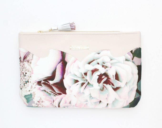 SUMMER 7/ Floral clutch bag-romantic bag-wedding purse-evening bag-small handbag-bridesmaid gifts-black beige pink-Ready to Ship