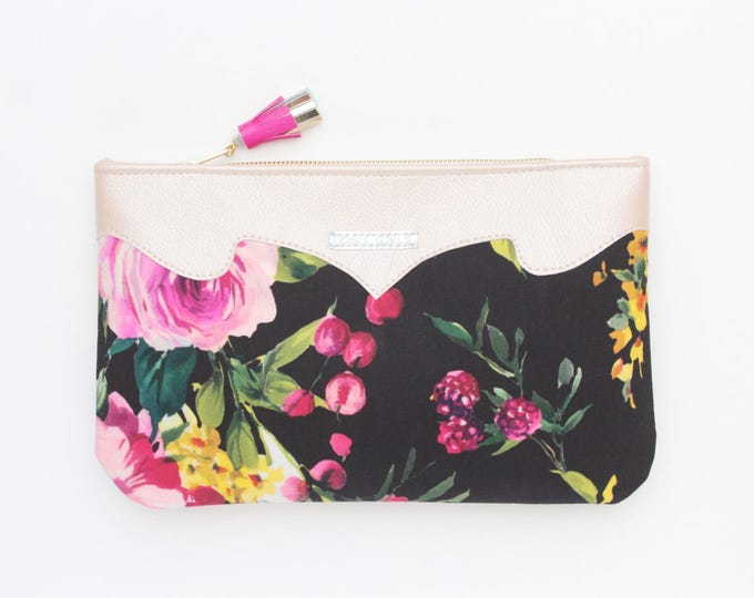 Flower clutch bag. Leather handbag. Wedding clutch. Evening clutch. Bridesmaid clutch. Statement purse. Black handbag. Florals. /SUMMER 13