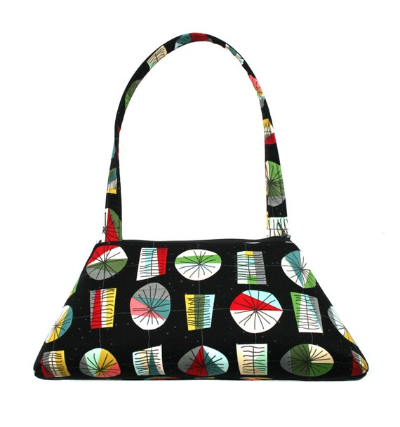 Vintage inspired, black, midcentury modern, SMALL Retro Tote