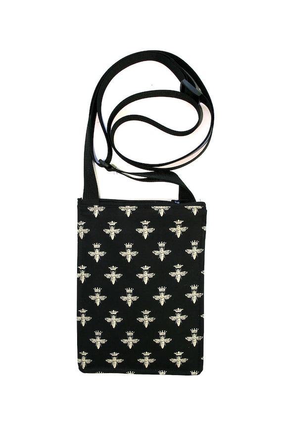 Bees, black and white, small cross body, vegan leather, zipper top, passport bag