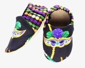 Mardi Gras Baby Girl Shoes, 6-12 mos Baby Booties, Slip-on Baby Shoes, Baby Soft Shoes, Slip On Baby Shoes, Baby Girl Gift