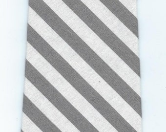 Handman Grey and White Stripe Necktie