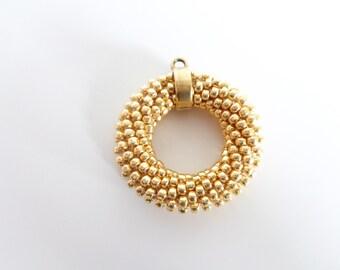 Gold Necklace // Circle Necklace // Long Pendant Necklace // Crochet Rope Necklace // Beaded Necklace // Gift idea