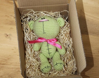 Cute Little Lime Green & Pink Knitted Amigurumi Crochet Teddy Bear Nesting in a Gift Box - Handmade in the UK