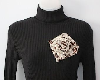 Ooak Recycled Vintage Men's Tie Cream & Brown Rose Large Flower Brooch Pin - Handmade in the UK