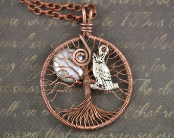 Owl Necklace Full Moon Tree-Of-Life Pendant Copper Wired Jewelry Night Owl Pendant Owl Jewelry Rustic Boho Unisex Jewelry Charm Necklace