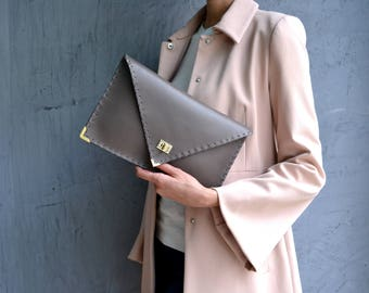 Grey Leather clutch / Grey leather bag / Grey leather purse / Leather evening bag / Envelope clutch