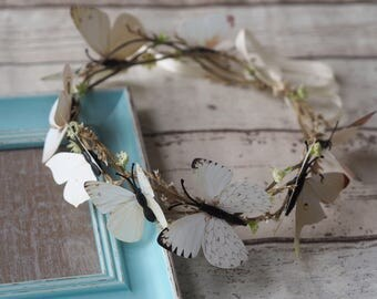 Butterfly Hair Accessory, Wedding Halo, Floral Halo, Wedding Head Crown, Butterfly Crown, Whimsical Headband, Woodland Flower Crown