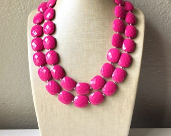 Pink Statement Necklace, Chunky Beaded Necklace, pink Jewelry, Fall Jewelry, Fall Necklace, Hot pink Necklace, magenta beaded necklace