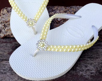 Custom Havaianas Slim Butter Cream Yellow Daffodil Pearl Flip Flops w/ Swarovski Crystal Silver Filigree Bridal Bridemaid Beach Wedding shoe