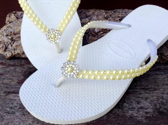 Custom Havaianas Slim Butter Cream Yellow Daffodil Pearl Flip Flops w/ Swarovski Crystal Silver Filigree Bridal Bridemaid Beach Wedding shoe