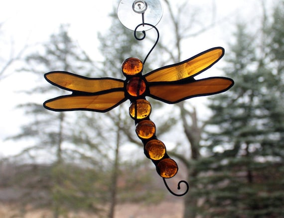 Stained Glass Dragonfly Suncatcher, Amber