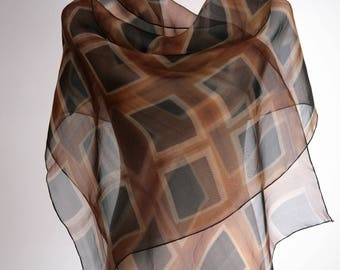 Silk Scarf Brown Evening Wrap Hand Dyed Organza Shibori Wrap