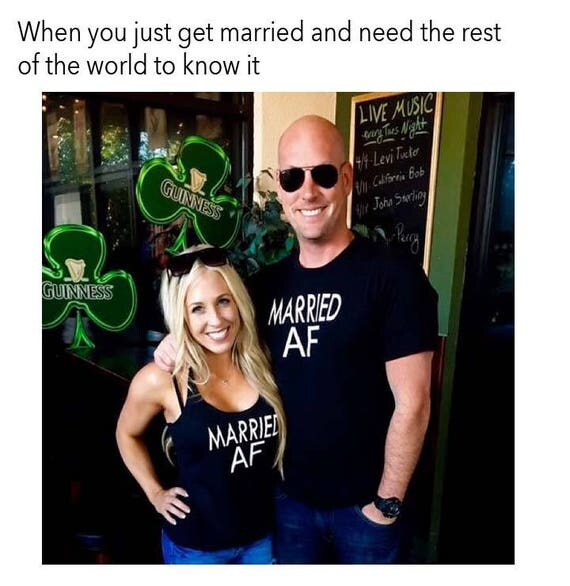 Married AF Shirts - Honeymoon Shirts - Just Married Shirts - Wedding Gift - Hubby Wifey Shirts - Engagement Gift - Bride Shirt - Bride Tank