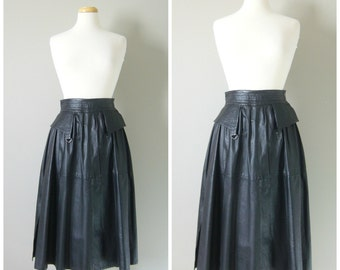 Vintage BLACK LEATHER MIDI Skirt/A line Leather Skirt/size Xsmall-Small