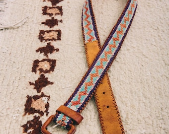 vintage Guatemalan leather belt with custom embroidery   small   the Maya belt