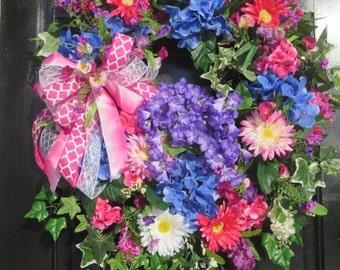 XL Bright Summer Wreath, Summer Door Wreath, Wreath Front Door, Luxury Wreath, Gerber Daisy Wreath, Ivy Wreath, Pink Blue Purple Colors