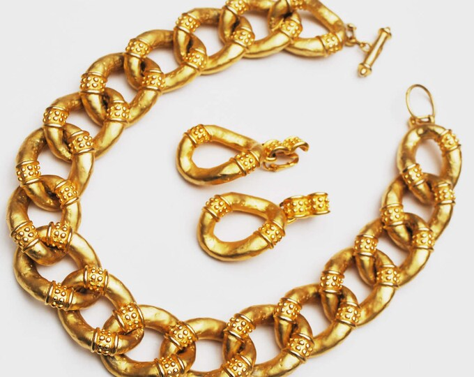 Gold link Necklace earring set - Chunky golden Links - collar necklace - Dangle Clip on earrings