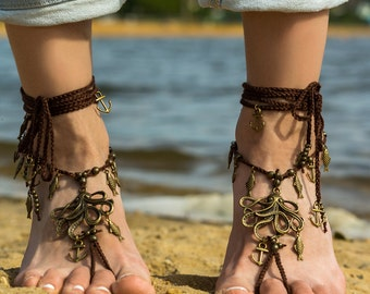 Barefoot sandals Bottomless sandals Foot jewelry barefoot sandal Soleless sandals Bare foot sandals Boho anklet Festival clothing