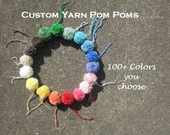 1.5cm Mini Yarn Pom Poms, Small Round Pom Balls with Loop,Party Pom Decorations, Pom Pom Embellishments, Small Wool Pom Balls,Custom Colors