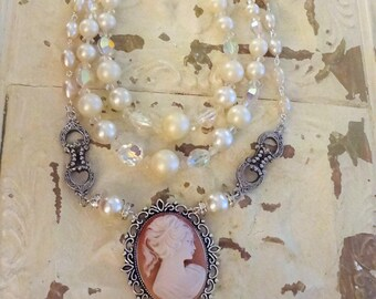 Vintage Assemblage Necklace, Cameo Necklace, Assemblage Necklace, Shabby Chic Necklace, Pearl Necklace, Victorian, Bertha Louise Designs