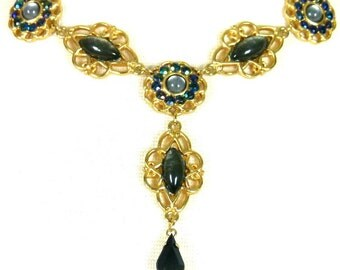 Stunning Gold Metal Necklace and Earrings with Iridescent Blue Grey Marquis Stones and Blue Borealis Rhinestones