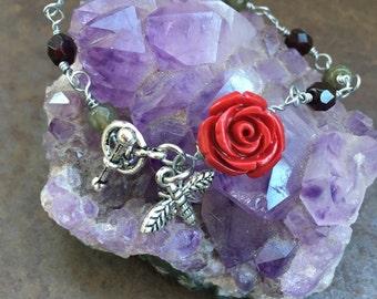 Beauty and the Beast Bracelet, Labradorite Bracelet, Rose Bracelet, Bee, Rose, Gothic Rose Bracelet