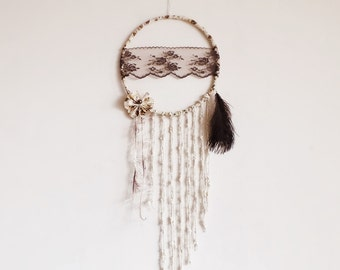 Dream catcher, large dreamcatcher, lace, wall decoration, neutral, brown, wall hanging, handmade, shabby chic, butterfly, flower, bedroom